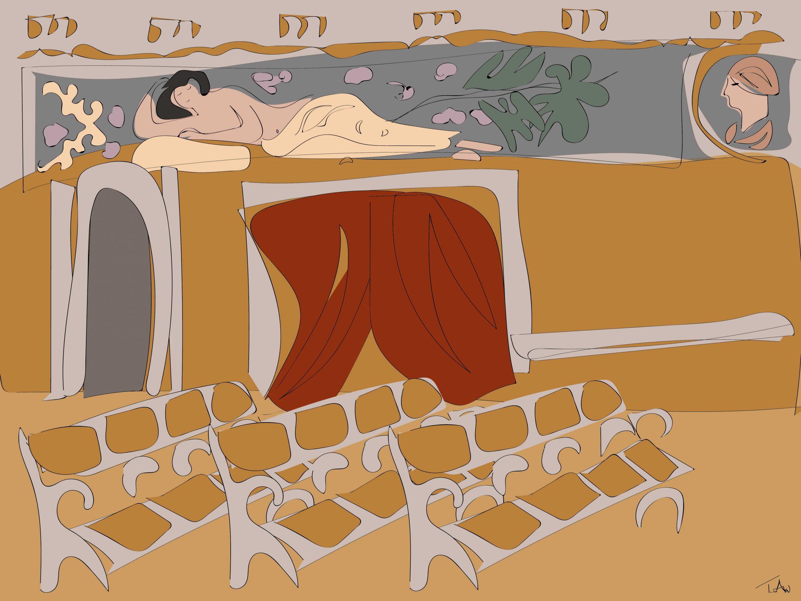 Illustration av biosalongen tolkad utifrån det jag såg, dekorerad av Gustav Klimt.
